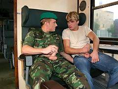 after seeing Cameron adjusting his crotch, Roberts finds his hormones can know longer cope with Cameron's good looks, so he takes his army boots off and moves one of his feet right onto Cameron's crotch. This of course is just the signal Cameron wanted, t